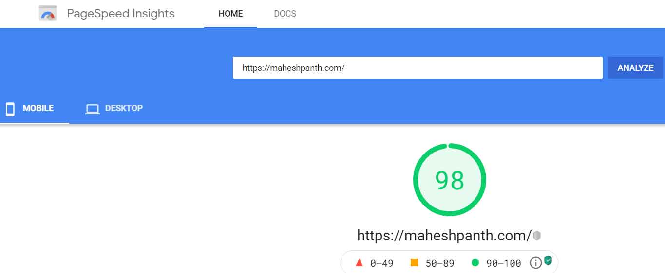 maheshpanth.com page speed insights mobile