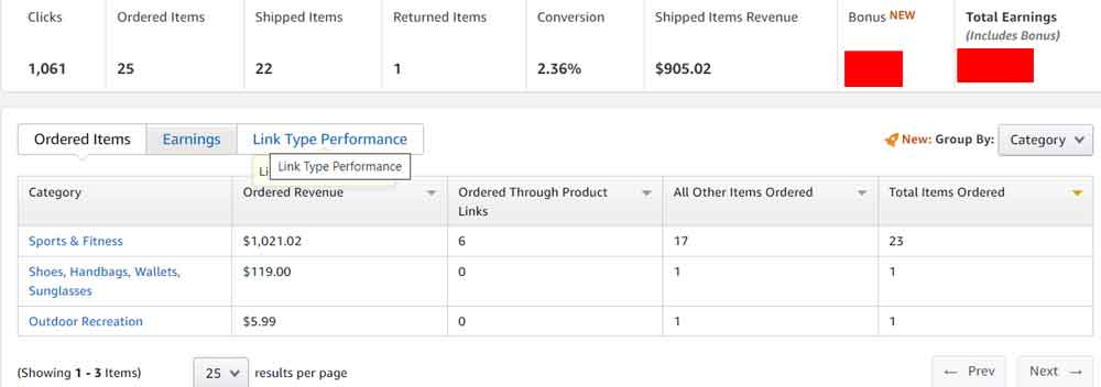 my first month earning proof of amazon associates program